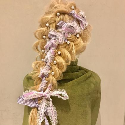 ちょっとゴスロリ 紫のリボンをダブル編み 周りと差をつけちゃいますよ チェキ会にオススメ ヲタク美容師 ❤︎ヲタク美容師❤︎のヘアアレンジ