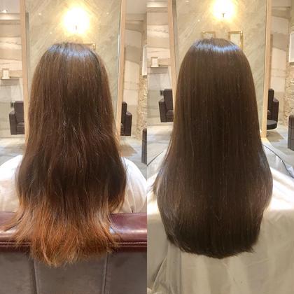 ロング イルミナカラーのフォレストを使ってオリーブアッシュに(^^)TOKIOトリートメントもして質感も柔らかく艶髪に♪