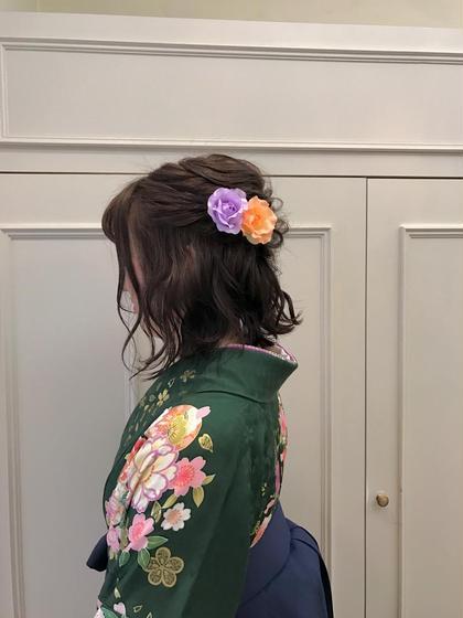 カラー パーマ ヘアアレンジ ミディアム 袴の着付けとヘアセットです!