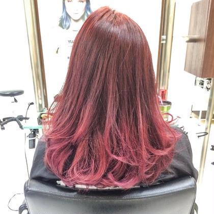 カラー セミロング ミディアム ピンク系グラデーション