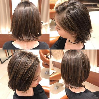 ■外ハネボブ ■切りっぱなし ■ハイライトカラー hair do所属・小木曽捺季のスタイル