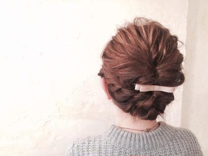 くるりんぱ➕ロープ編み➕リボン hair design anello所属・ヘアーデザインアネーロのスタイル