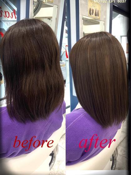 💘💫ブリーチをしてる人でストパー、縮毛をかけたい方にオススメ💫💘髪質改善トリートメントと似合わせカット