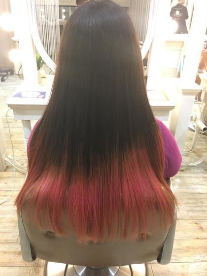 カラー ロング 毛先のみのグラデーション*pink*  毛先のみブリーチ1回×カラーバター
