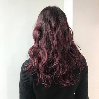 ラズベリーcolor ❤️ 濃いピンクで派手目に❤️ 人と差をつけたい方に オススメ です ☺️♩ ❤️カラーNo.1❤️今俣菜々美のロングのヘアスタイル