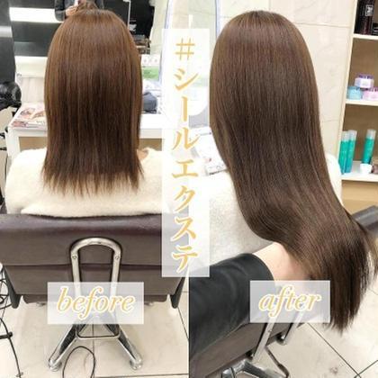 【エクステカット無料】プラチナ人毛シールエクステ60本(52cm)¥15000