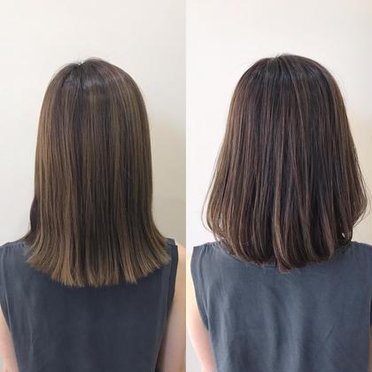 ✂︎お客様ビフォーアフター✂︎ 少し抜けてる髪にアッシュベージュのカラーで、夏っぽく♀️ 髪も2cm切って内巻きに巻いて可愛いボブに✨ カットもカラーも女性のお客様もおまかせあれ♂️✨ 最高の仕上がり、ノンダメージで仕上げます ぜひお任せください✨ 藤井翔汰のミディアムのヘアスタイル