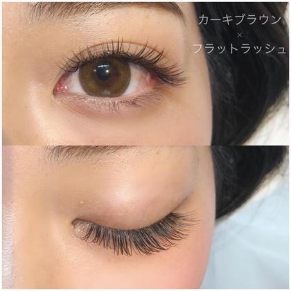 自まつ毛の負担を軽減できるフラットラッシュ☆ カラーエクステのカーキブラウンとmix(カラーエクステはフラットラッシュではありません)
