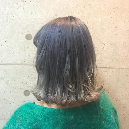 カラー セミロング ヘアアレンジ gray purple☪️