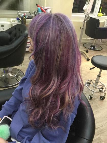 カラー ロング 赤紫と青紫のメッシュ☆イリュージョンカラー(*☻-☻*)
