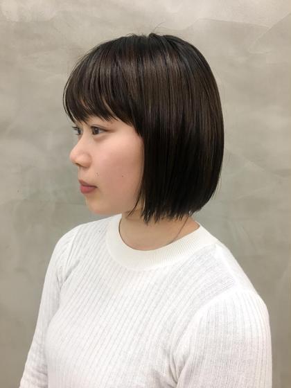 カラー トレンドの暗髪アッシュ❤︎ #黒髪#切りっぱなしボブ