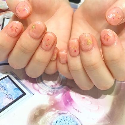 ネイル ピンクにベージュを混ぜ込んでます♡ニュアンスネイル6000円♡