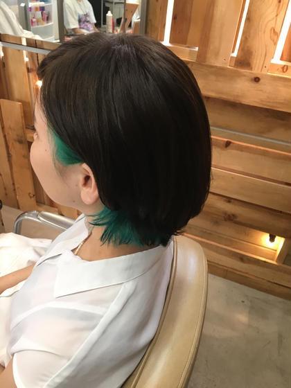 インナーカラー!耳にかけたらちらっとマーメイドグリーン♡ BURNEY FIELDS所属・ogawachihiroのスタイル
