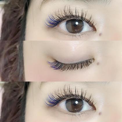 ♡eyelash♡  #flatlash  D8.9.10.11/0.15/80本 ダークブルーC10.11/40本  pointカラーはフラットラッシュの料金に+¥500です😊 private eyelash salon chick所属・多久島由佳のフォト