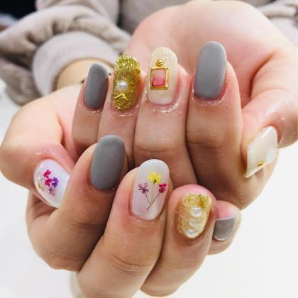 ネイル 押し花×マットnail♡
