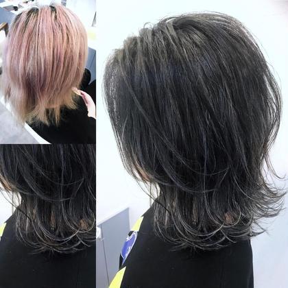 カラー ショート 5回ブリーチをしてマニキュアをしてた髪から ハイコントラストのハイライトを入れて ダークアッシュでトーンダウン🌟