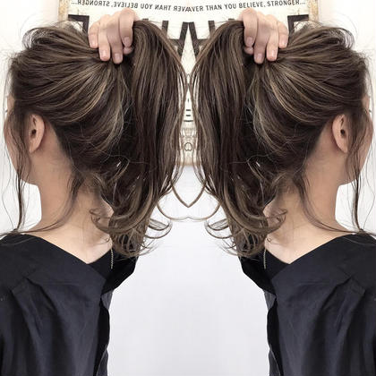 アディクシーカラー+ハイライト 阪田育誠のセミロングのヘアスタイル