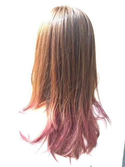 ピンク系のグラデーション☆  1回のブリーチでも可能です(^^)  ぜひお試しあれ♪ ドンナ新大宮所属・瀧川秀樹のスタイル