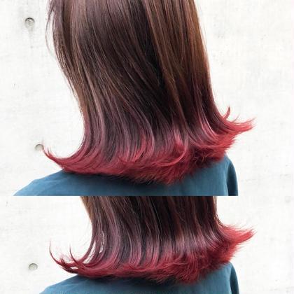 その他 カラー ヘアアレンジ ミディアム 赤髪裾カラー🍒