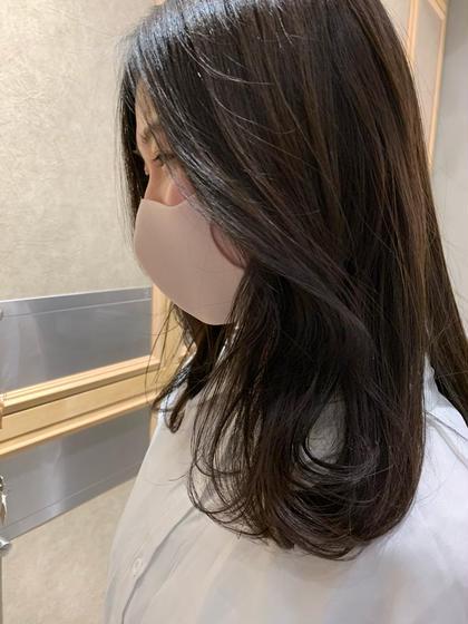 🕊顔まわり前髪カット🕊+透明感ワンカラー+髪質改善トリートメント
