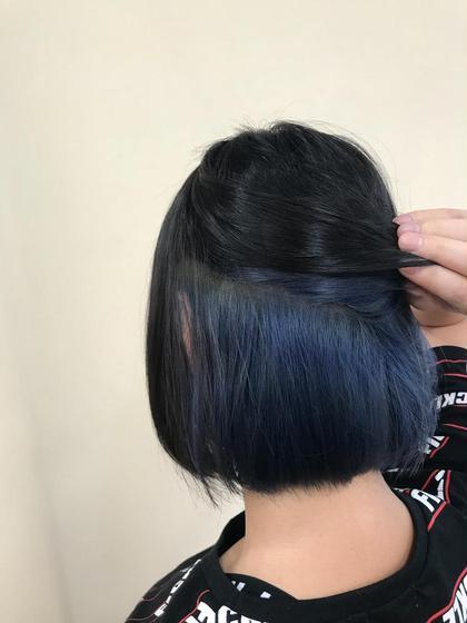 カラー ショート インナーバイオレットブルー