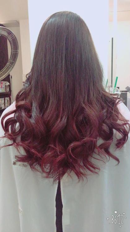 その他 カラー ロング グラデーションカラー☆ 赤とピンクを使った可愛く華やかなグラデーションです!