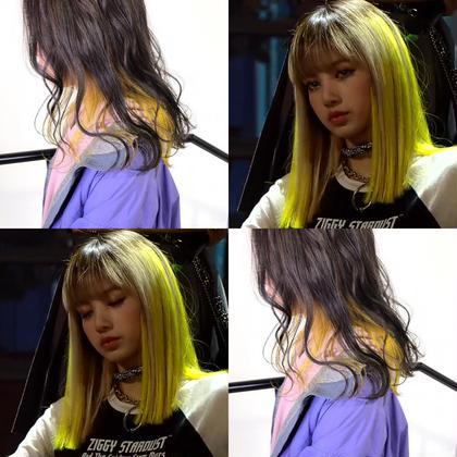 イエローカラー🍋🍋  黄色は結構主張強めなのでインナーカラーでも しっかり色味がでます◎ 高橋くりなのスタイル