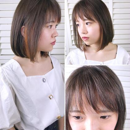 その他 カラー ショート パーマ ヘアアレンジ Real salon work 【 bob / inner hilight / orange 】 . 耳の辺りと前髪にポイントでカラー* アクセサリー感覚でできるお洒落カラー# . リスクが少なく退色したら色味のチェンジもできてオススメ☆ . インナー箇所をグレー系にするのも◎ 普通のカラーに飽きたらぜひ! . . . #NAKAIstyle #インナーカラー#アクセサリーカラー