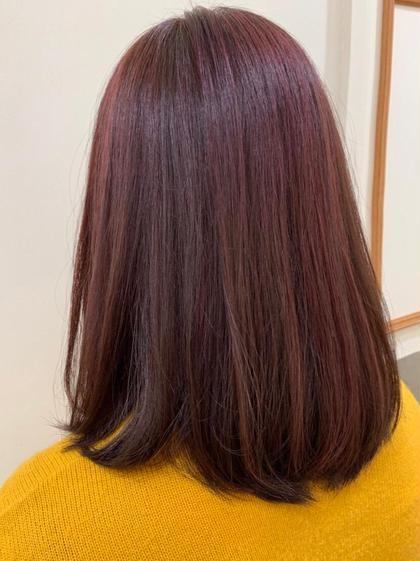 カラー ミディアム ベースはブリーチなしのバイオレットピンク💕 ブリーチでハイライトを入れる事で より明るく鮮やかな色に✨✨  ハイライト +¥2160〜