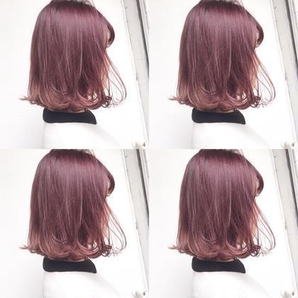シアモーブピンクと切りっぱなしボブ 福田愛実のミディアムのヘアスタイル