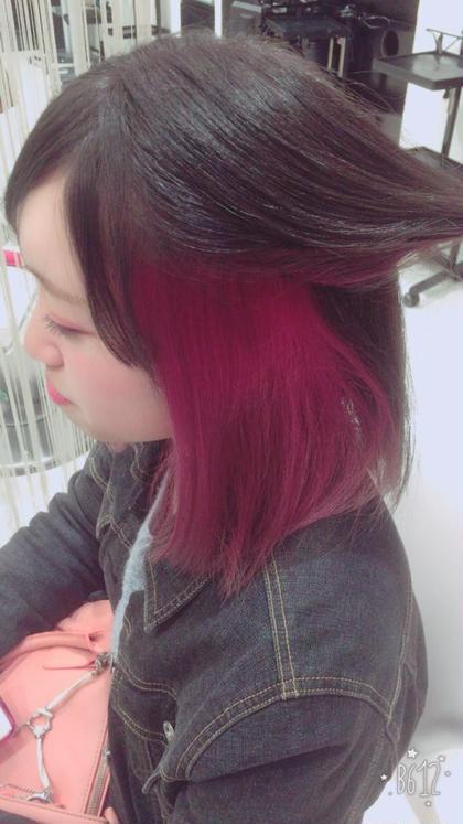 サイドインナーカラー ピンク系 hair&make EARTH浜松市野店所属・大石郷のスタイル