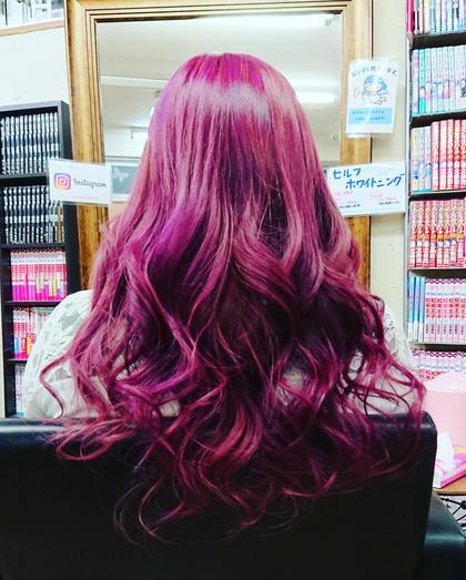 ブリーチしてから、パープルのカラーバターで染めました。 hair and make R【ヘアーアンドメイク アール】 所属・吉田 佳代のスタイル