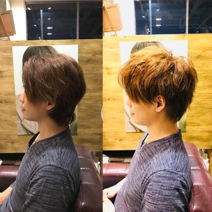 カットは、毛量が多いからしっかりと空くのでは無く! クセで軽くし過ぎると広がりやすい為、重みを残して メリハリのあるカットラインです!!(^-^)  カラーはブリーチは使わず、カラー剤で明るくてできる 限界までしてみました!(^ ^) 和田魁のメンズヘアスタイル・髪型