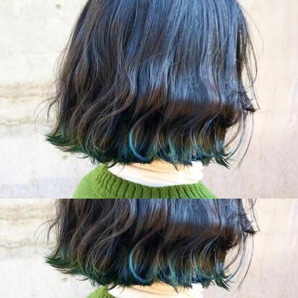その他 カラー ショート ヘアアレンジ プチイメチェンにぴったりの裾カラー🌿 毛先5センチブリーチ後グリーンカラーを入れて一気にオシャレカラーに😊