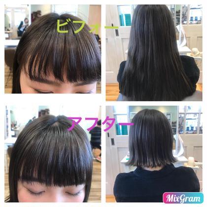 ミディアム 今まで伸ばしていた後ろ髪をばっさり 切っちゃいました!流行りの切りっぱなしの外ハネ! 前髪もパッツン+オン眉にしました!