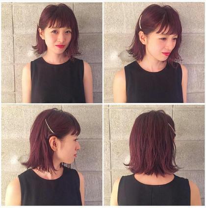 ざっくりボブのパープルレッドカラー Hair-salon&BeautyLOA【ロア】所属・itoasamiのスタイル