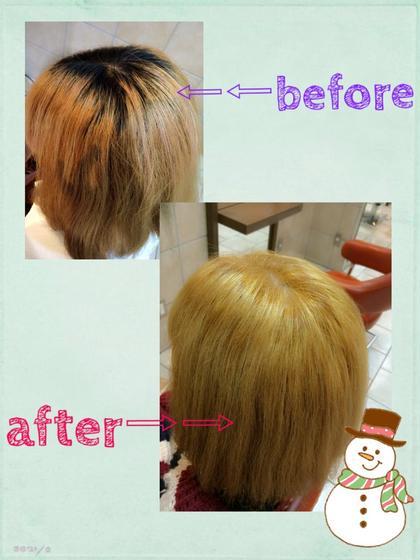ブリーチ3回やってる髪に対してのリタッチをしました! うまくブリーチ材を配合して、1回だけしかリタッチではブリーチをしなかったのですが、綺麗に染めさせていただきました☆ トリートメントはインフェノムというもので、栄養補給メインにやらせていただきました♡ neolivecino所属・小島愛理彩のスタイル