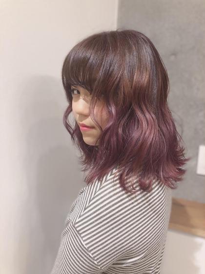 カラー セミロング ヘアアレンジ ピンクグラデーション☆