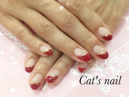 #斜めフレンチ #赤 Cat's nail所属・原口芹香のフォト