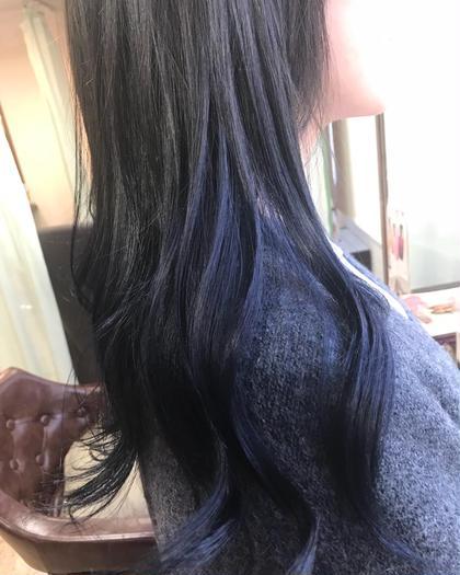 カラー ロング グレーパールアッシュからの毛先ブルー(*'ω'*) ブリーチが必要になります。