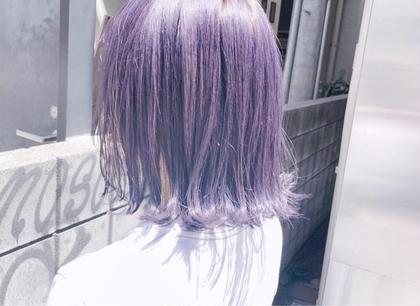 カラー ヘアアレンジ ミディアム ブリーチ3回以上からのアメジストカラー(^^)   透明感ある色味を希望の方はぜひ(^^)