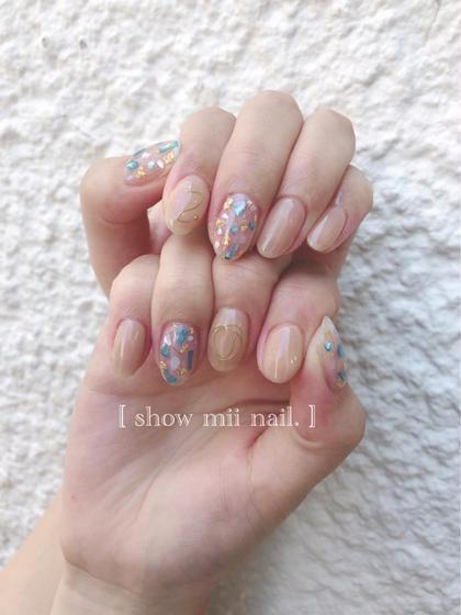 【gel nail】 ハンドデザインコース定額A (押し花.ワイヤー.シェル) ¥4000