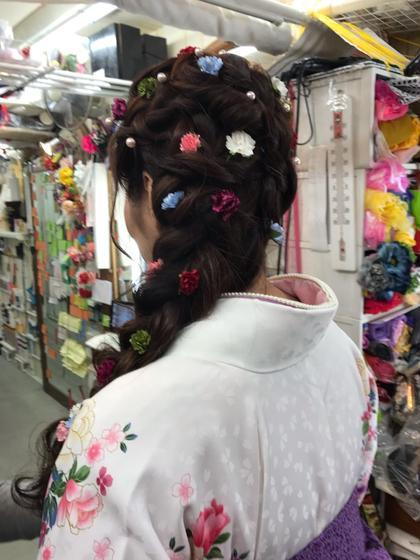 袴着付けヘアセット ラプンツェル風ヘア