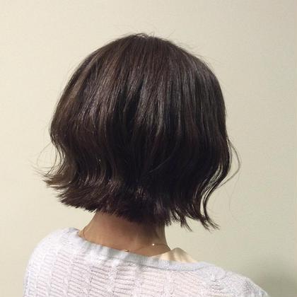 切りっぱなしボブ☆サファイヤにグレーパールを足して透明感ある髪色に、、