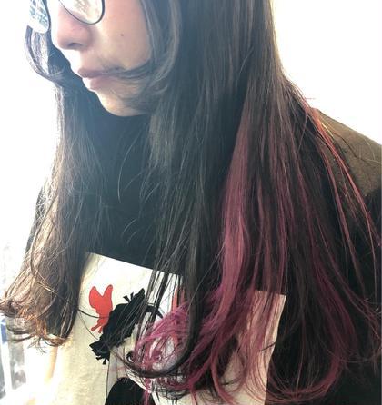 ロング 左内側メインに2色のピンクをmixしてあります(^○^)