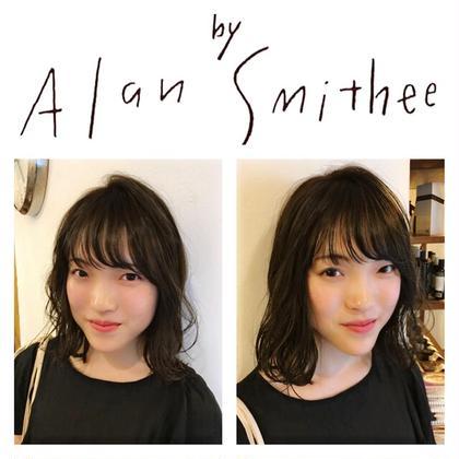 カラー セミロング 前髪カット×オリジナルブレンドカラー⭐︎  この夏は透け感大事⭐︎ ちょい茶髪アッシュグリーン⭐︎ メチャ可愛い(^_^)