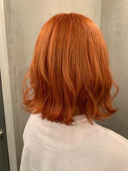 一回ブリーチでオレンジカラーに🍊🧡 ピンクも少し混ぜているので可愛らしいオレンジに仕上がっています!