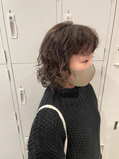 小顔カット+質感チェンジパーマ+内部補修+選べる髪質改善シャンプー