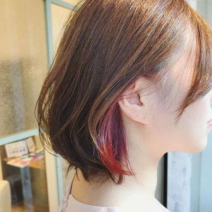 前髪カット+94%ダメージオフ⭐️インナーカラー(ポイントブリーチ)+オンカラー+フローディア 3stepトリートメント