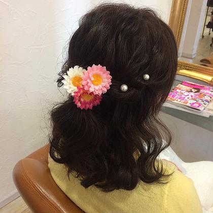 hair set〻  ゆるふわハーフアップスタイル🌸 先程の横からバージョン💗 VOGUE LOGIC所属・馬場明日香のフォト